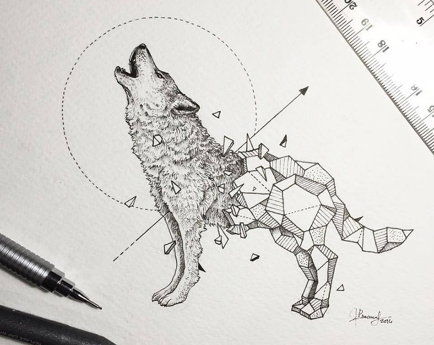 Lovely-Half-Geometrical-Drawings-of-Wild-Animals-5