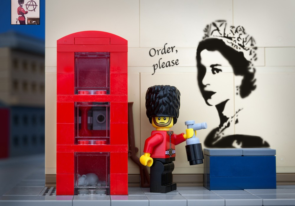 """The Royal Urban Stencil Regiment is a secret branch of the Queen's Guard. Their ritual """"nicking of the spray paint"""" is a rarely photographed ceremony in London hardware shops."""