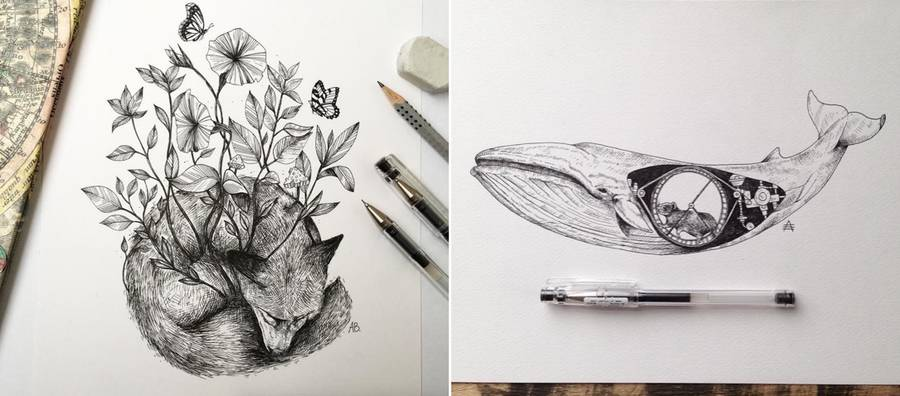 Black Ink Illustrations By Alfred Basha Design