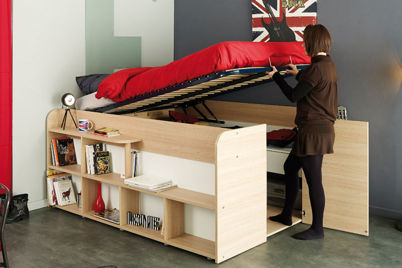 space up bed with storage from parisot design. Black Bedroom Furniture Sets. Home Design Ideas