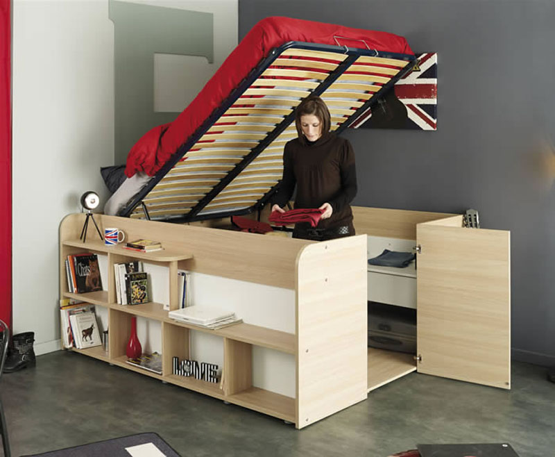 Space up bed with storage from parisot design - Lift up storage bed ...