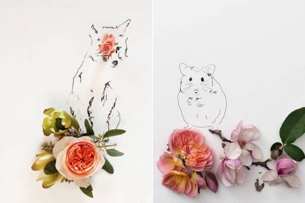 Illustrations of Animals Featuring Flowers