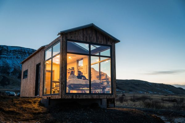 Scandinavian glass cabin igloo in west Iceland