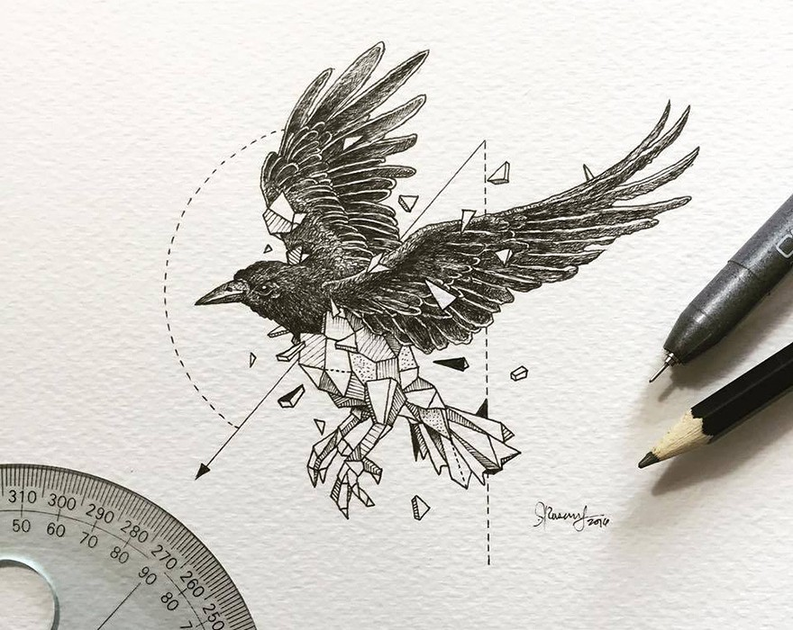 Lovely-Half-Geometrical-Drawings-of-Wild-Animals-7