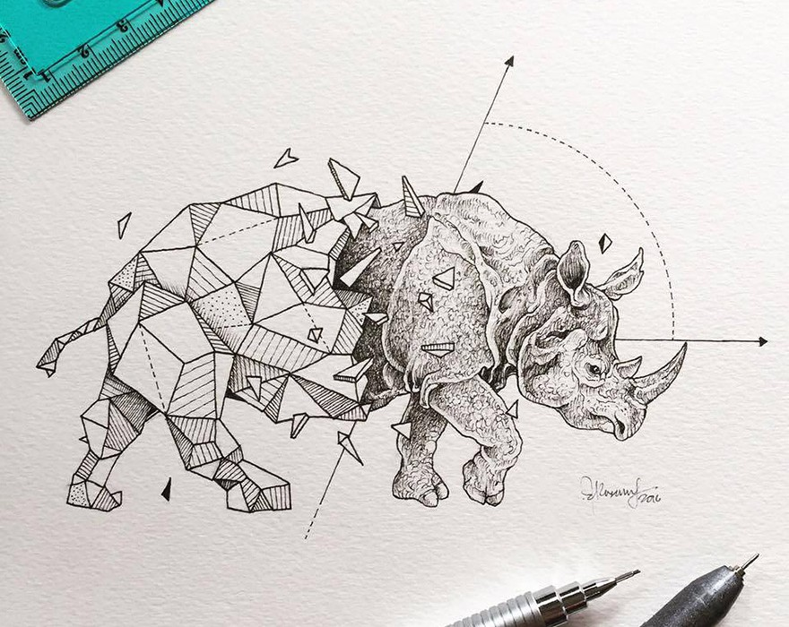 Lovely-Half-Geometrical-Drawings-of-Wild-Animals-8
