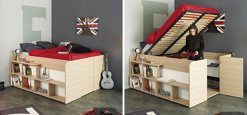Space up bed with storage from parisot design - Bed frames for small rooms ...