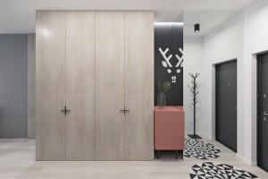 wooden-cupboards-geometric-rug-wall-art