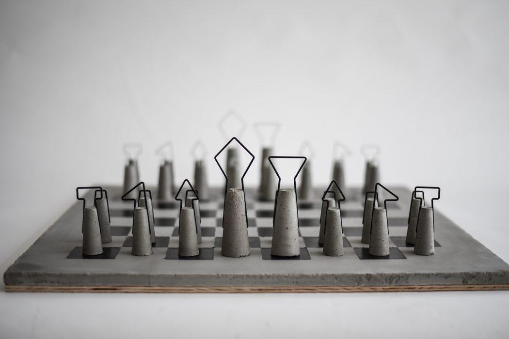 Iron Concrete Chess Set By Daniel Skoták